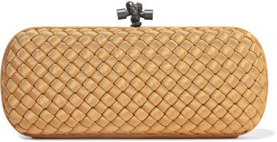 ba4d7a84fa ... Bottega Veneta The Knot Intrecciato Grosgrain Clutch Gold ...