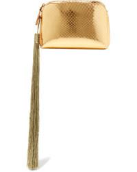 The Row Wristlet Mini Tassled Metallic Ayers Clutch Gold