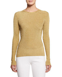 Michael Kors Michl Kors Long Sleeve Jewel Neck Metallic Top Gold