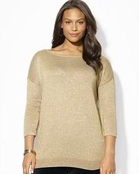 Ralph Lauren Lauren Plus Dolman Sleeve Boat Neck Metallic Sweater