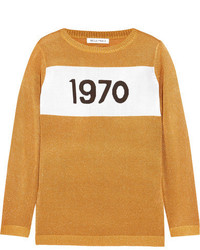 Bella Freud Sparkle 1970 Metallic Knitted Sweater Gold
