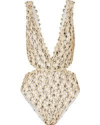 Missoni Cutout Metallic Crochet Knit Swimsuit