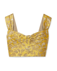 Prada Cropped Metallic Brocade Top
