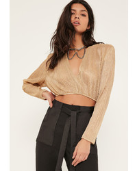 Missguided Petite Gold Crinkle Crop Top