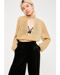 Missguided Tall Gold Metallic Crinkle Choker Neck Crop Top