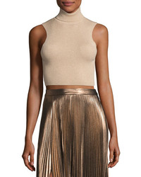A.L.C. Presley Sleeveless Ribbed Metallic Crop Top Bisquegold