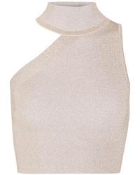 Cushnie et Ochs Cropped Cutout Metallic Stretch Knit Top Gold