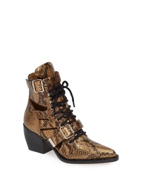 Gold Cutout Leather Lace-up Ankle Boots