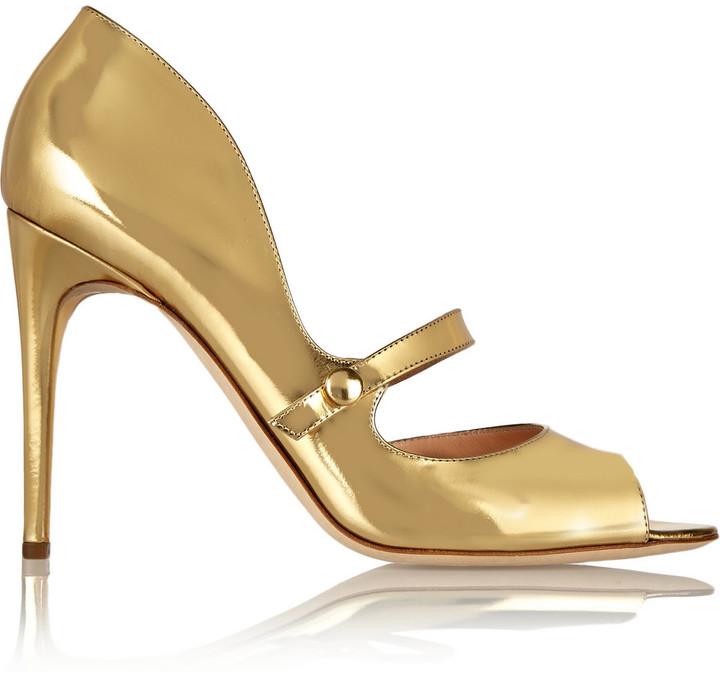 Trendy Rupert Sanderson Leather Gold Zelena Metallic Mary Jane Pumps