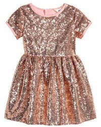 H&M Sequined Dress Pinkgold Colored Kids