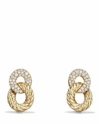 David Yurman 165mm Belmont Link Earrings With Diamonds In 18k Yellow Gold
