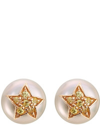 Carolina Bucci 18 Carat Gold Superstellar Stud Earrings With Pearl And Sapphires