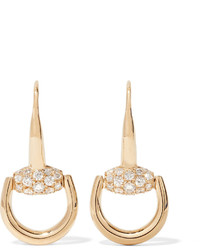 Gucci 18 Karat Gold Diamond Horsebit Earrings One Size