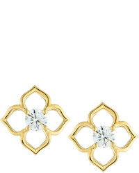 Memoire 18k Yellow Gold Diamond Lotus Flower Stud Earrings 060tcw