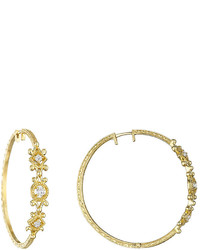 Penny Preville 18k Yellow Gold Triple Diamond Hoop Earrings