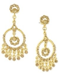 2028 Earrings Gold Tone Glass Topaz Chandelier Earrings
