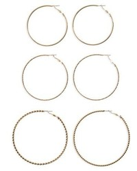 3 Pack Large Hoop Earrings