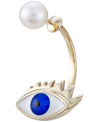 Delfina Delettrez 9kt Yellow Gold Earring With Eye And Pearl