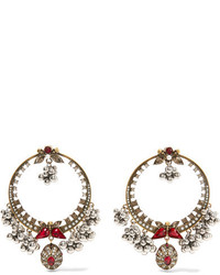 Alexander McQueen Gold Plated Swarovski Crystal And Faux Pearl Earrings One Size