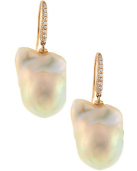Assael Assl 18k Rose Gold Baroque Freshwater Pearl Diamond Drop Earrings