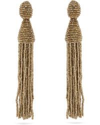 Oscar de la Renta Bead Embellished Tassel Drop Clip On Earrings