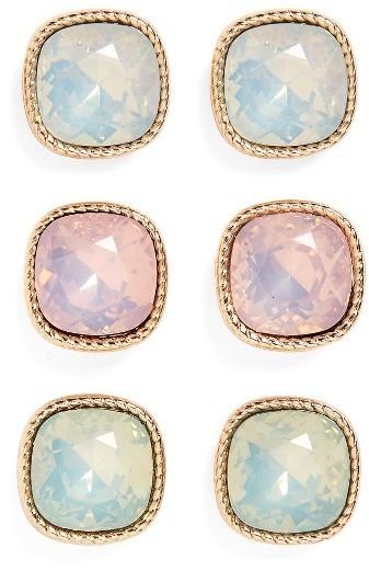 Set Of 3 Crystal Earrings
