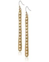 Lucky Brand Brass Tone Bone Linear Drop Earrings