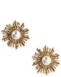 Oscar de la Renta Button Stud Earrings