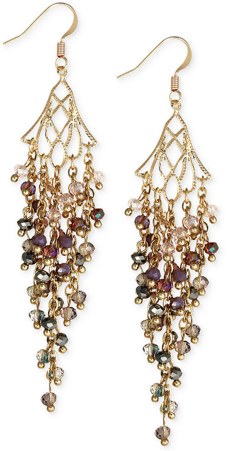 Cake by ali khan gold tone mauve bead shower chandelier earrings cake by ali khan gold tone mauve bead shower chandelier earrings aloadofball Image collections