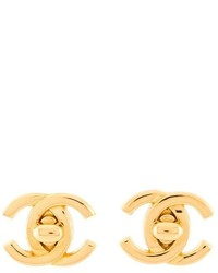 Chanel Vintage Cc Turn Lock Earrings