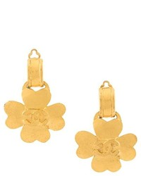Chanel Vintage Clover Leaf Clip On Earrings