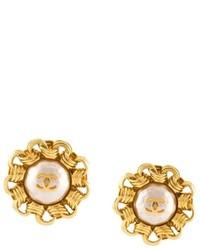 Chanel Vintage Faux Pearl Chainlink Border Earrings