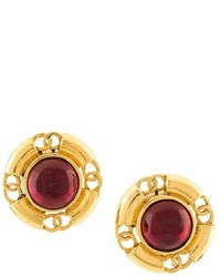 Chanel Vintage Gripoix Cc Clip On Earrings