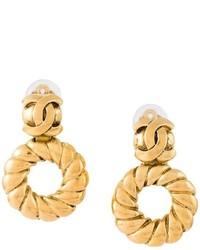 Chanel Vintage Twisted Loop Clip On Earrings