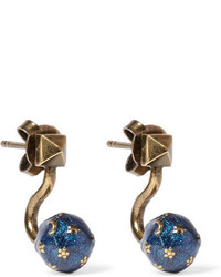 Valentino Cosmic Planet Gold Tone Earrings One Size