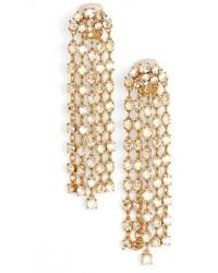 Oscar de la Renta Crystal Tassel Drop Earrings