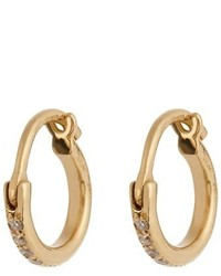 Ileana Makri Diamond Yellow Gold Mini Hoop Earrings
