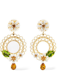 Dolce & Gabbana Gold Tone Swarovski Crystal And Enamel Clip Earrings One Size