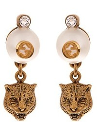 Gucci Faux Pearl Embellished Feline Drop Earrings
