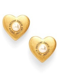 Marc Jacobs Faux Pearl Heart Stud Earrings