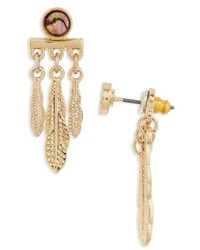 Topshop Feather Drop Back Earrings