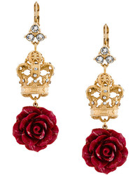 Dolce & Gabbana Filigree Crown Rose Drop Earrings