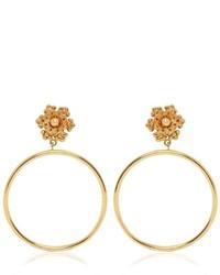 Dolce & Gabbana Flower Clip On Hoop Earrings