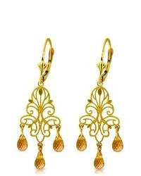 Galaxy Gold Products 14k Solid Gold Chandelier Earrings With Natural Citrines