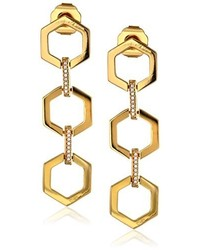 Rachel Zoe Gavriel Gold Plated Hexagon Linear Drop Earrings