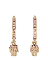 Alexander McQueen Gold And Pink Mini Skull Hoop Earrings