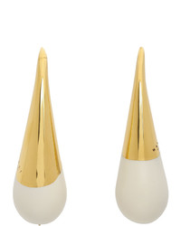 Marni Gold And White Blow Up Earrings