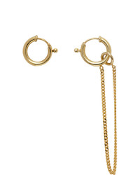 MM6 MAISON MARGIELA Gold Asymmetric Chain Drop Earrings