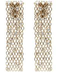 Lanvin Gold Crystal Chain Clip On Earrings