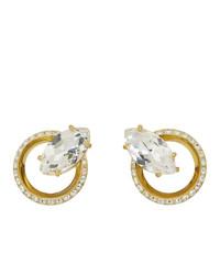 Miu Miu Gold Crystal Clip On Earrings
